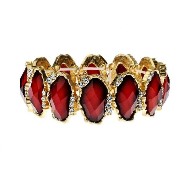 Ruby Red and Crystal Stretch Bracelet ($31) ❤ liked on Polyvore featuring jewelry, bracelets, accessories, ruby red jewelry, crystal jewellery, crystal stone jewelry, stretch jewelry and crystal bangles