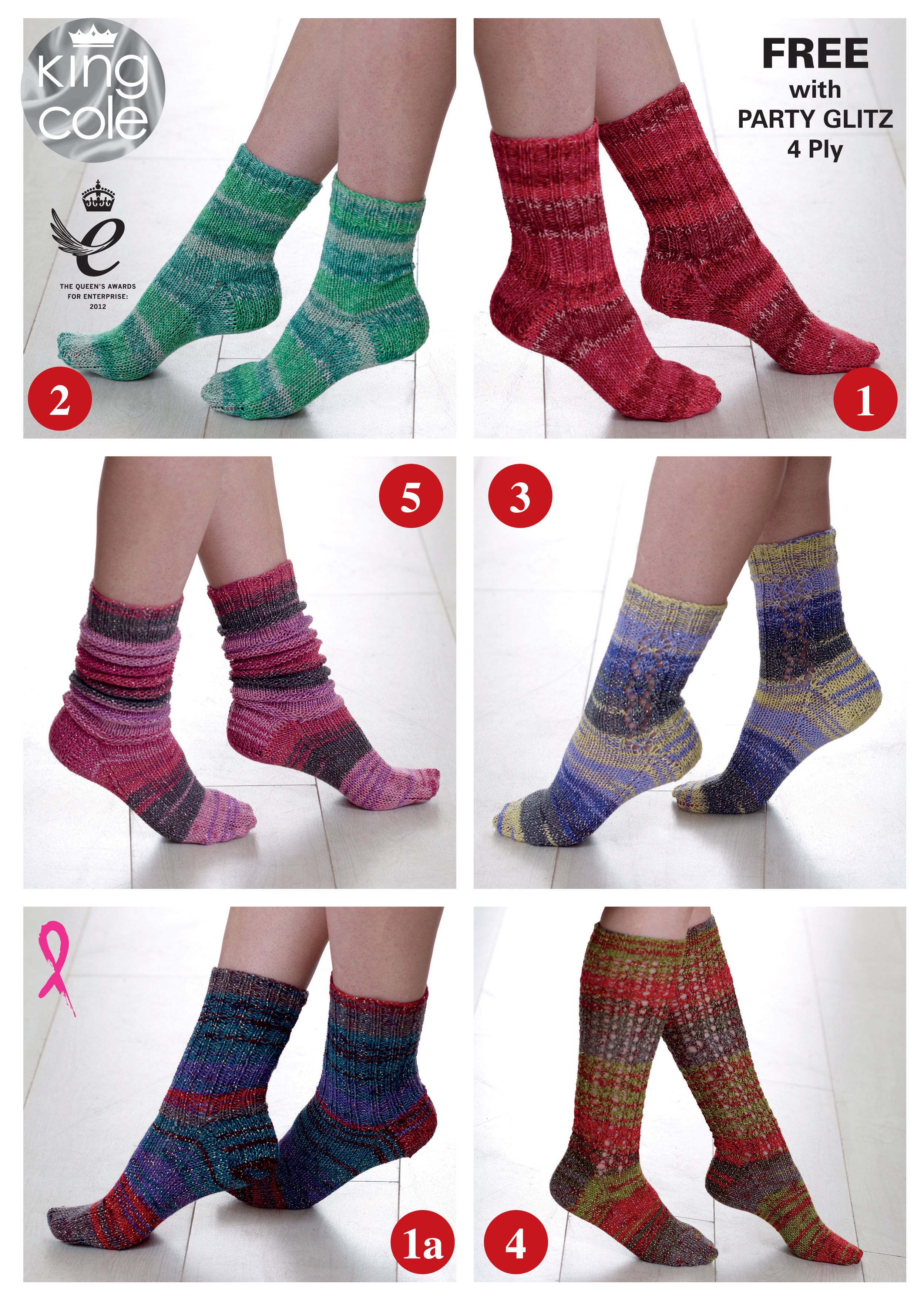 Knited stripy socks FREE pattern with every purchase of Party Glitz ...