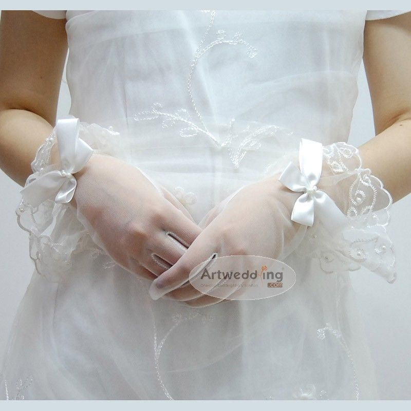 Elastic Voile Lace With Bowknot Wedding Gloves 9900 11I