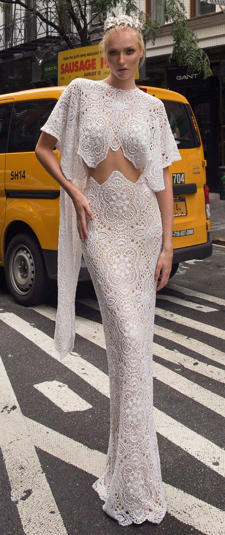 Lior Charchy NYC 2017 short sleeves bridal separates top fully embellishment sexy sheath wedding dress lior charchy bridal #wedding #weddings #bride #bridaldress #weddinggown