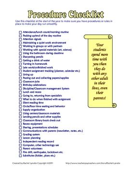 FREE Classroom Procedure Checklist for the Start of the Year