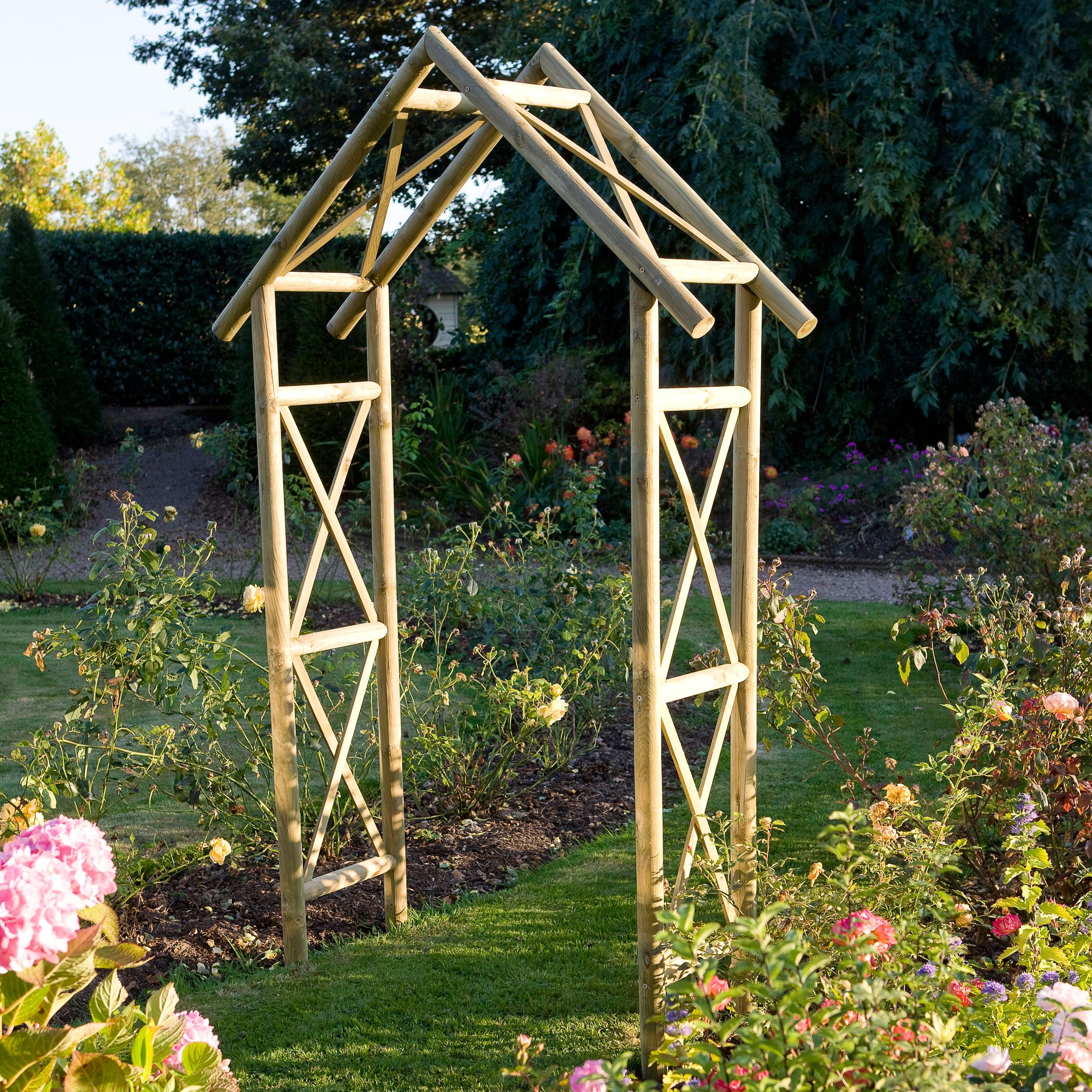 Blooma softwood apex top arch arbors gardens and small for Garden archway designs