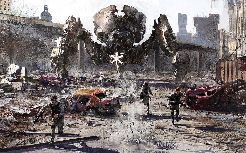 Mech Artwork Robot Fantasy Art Destruction Concept