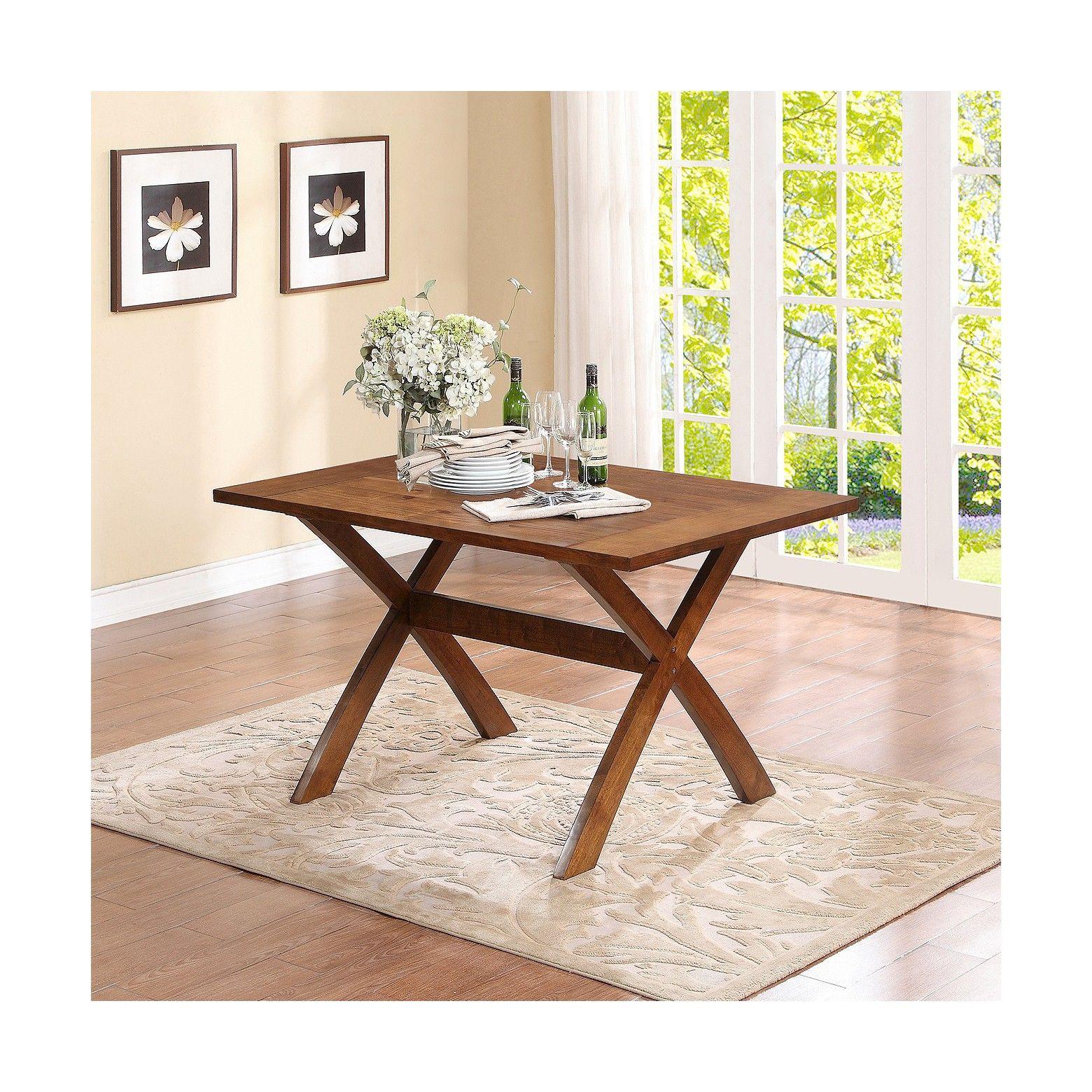 dining table wood brown dorel asia dark pine trestle dining