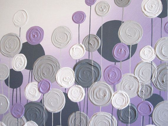 Light Purple and Grey Textured Painting by MurrayDesignShop | yellow