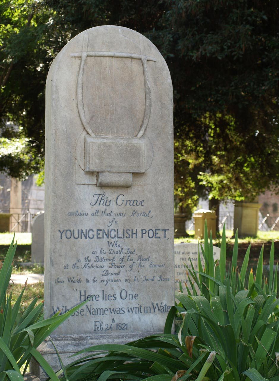 John Keats Here Lies One Whose Name Was Writ In WaterJohn Tombstone Rome