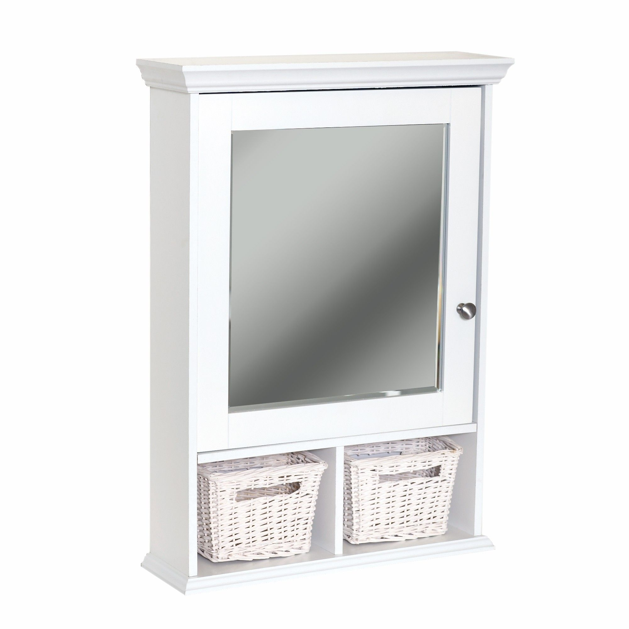 Medicine Cabinet With Wicker Baskets White Cabinets Zenith Home Corp