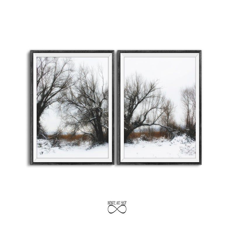 Snow Print Sets Of 2winter Trees Branchessnow Wall Etsy Photography Prints Art Modern Wall Art Prints Infinite Art