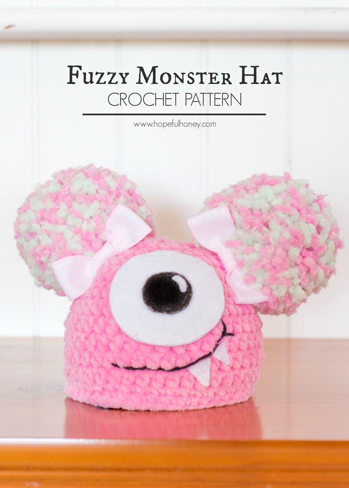 Newborn Fuzzy Monster Hat - Free Crochet Pattern | Monster hat, Free ...