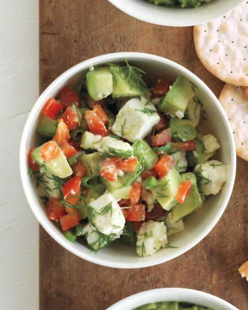 Chunky Avocado and Feta Dip - amazing with crunchy pita chips