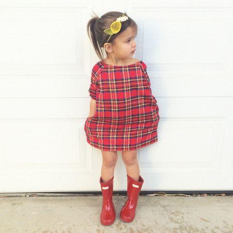 plaid dress   red - everly b.