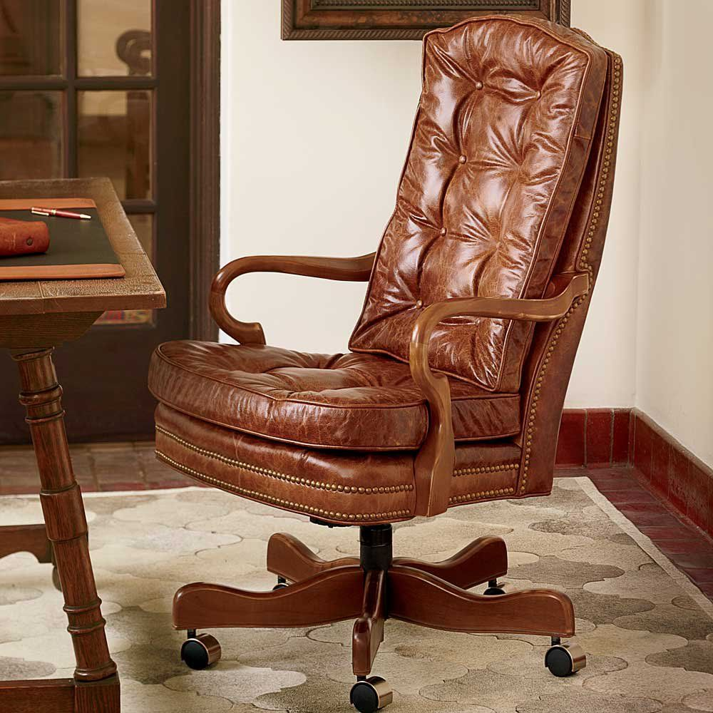 King Ranch Tufted Leather Gooseneck Chair Leather Desk Office