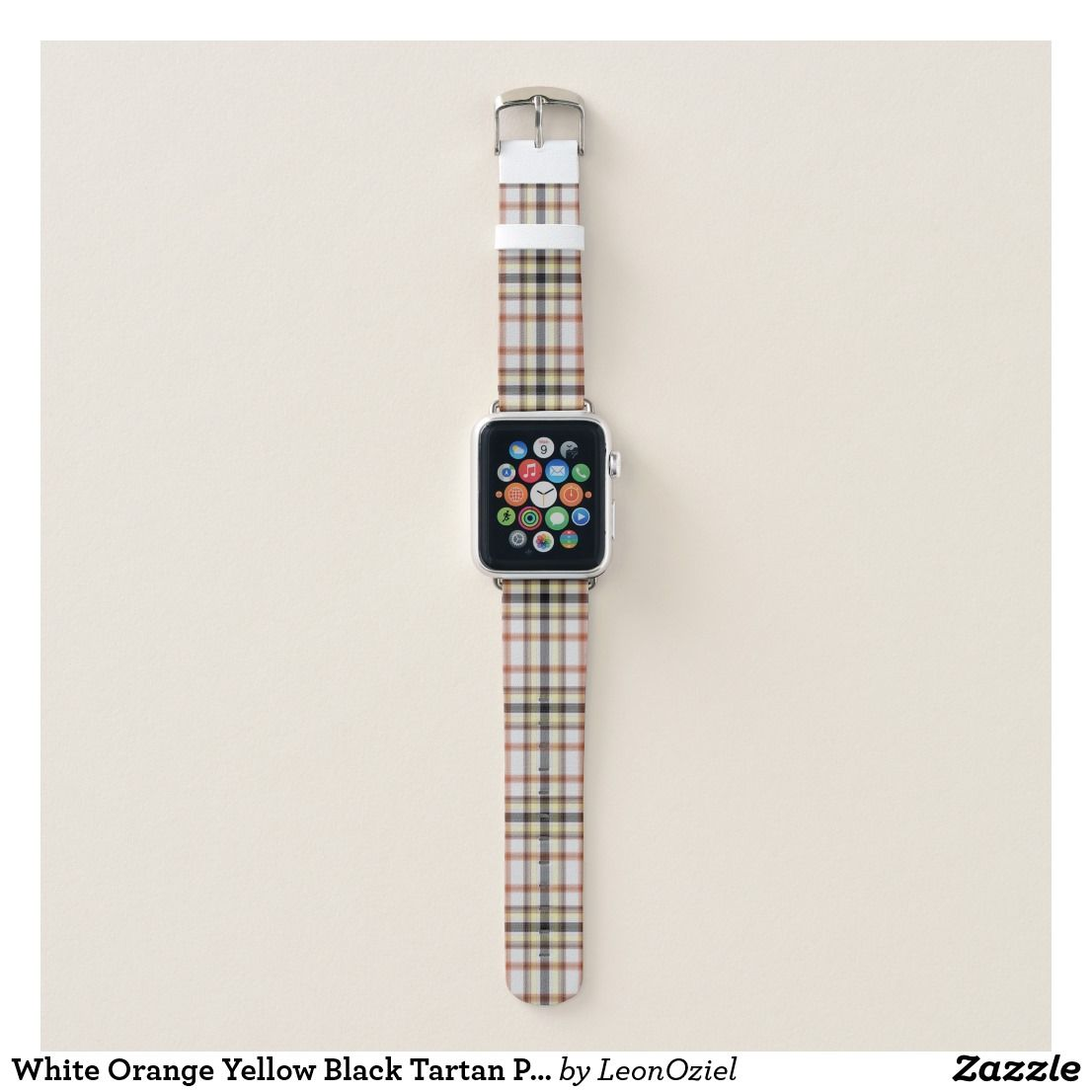 White Orange Yellow Black Tartan Plaid Apple Watch Band