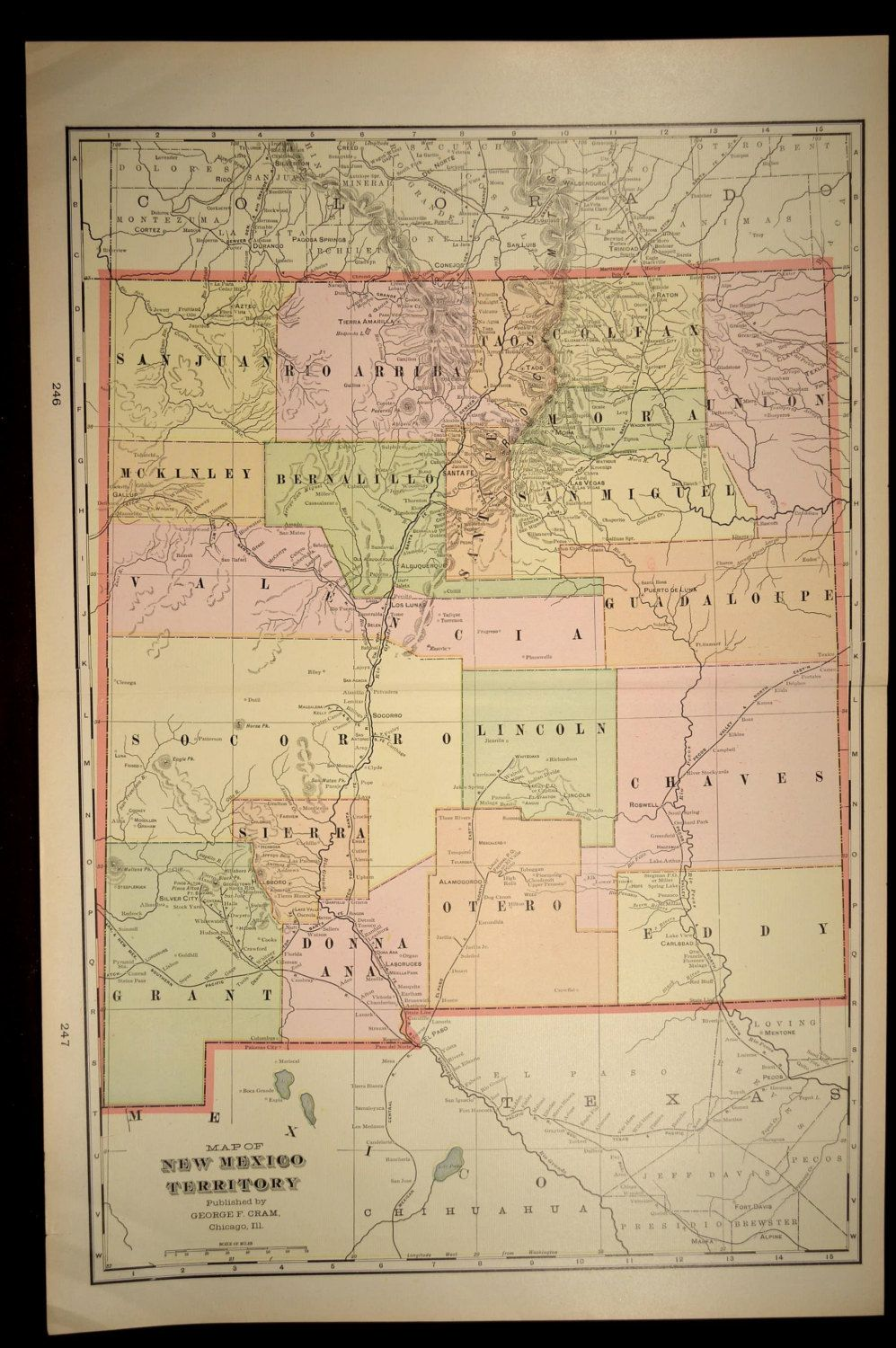 Large New Mexico Map Antique Early 1900s 1901 | Map Wall Decor ...
