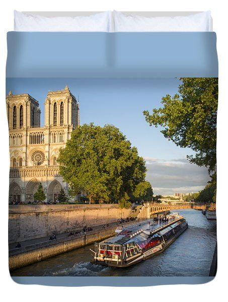 Cathedral by the River - Paris Duvet Cover by Brian Jannsen