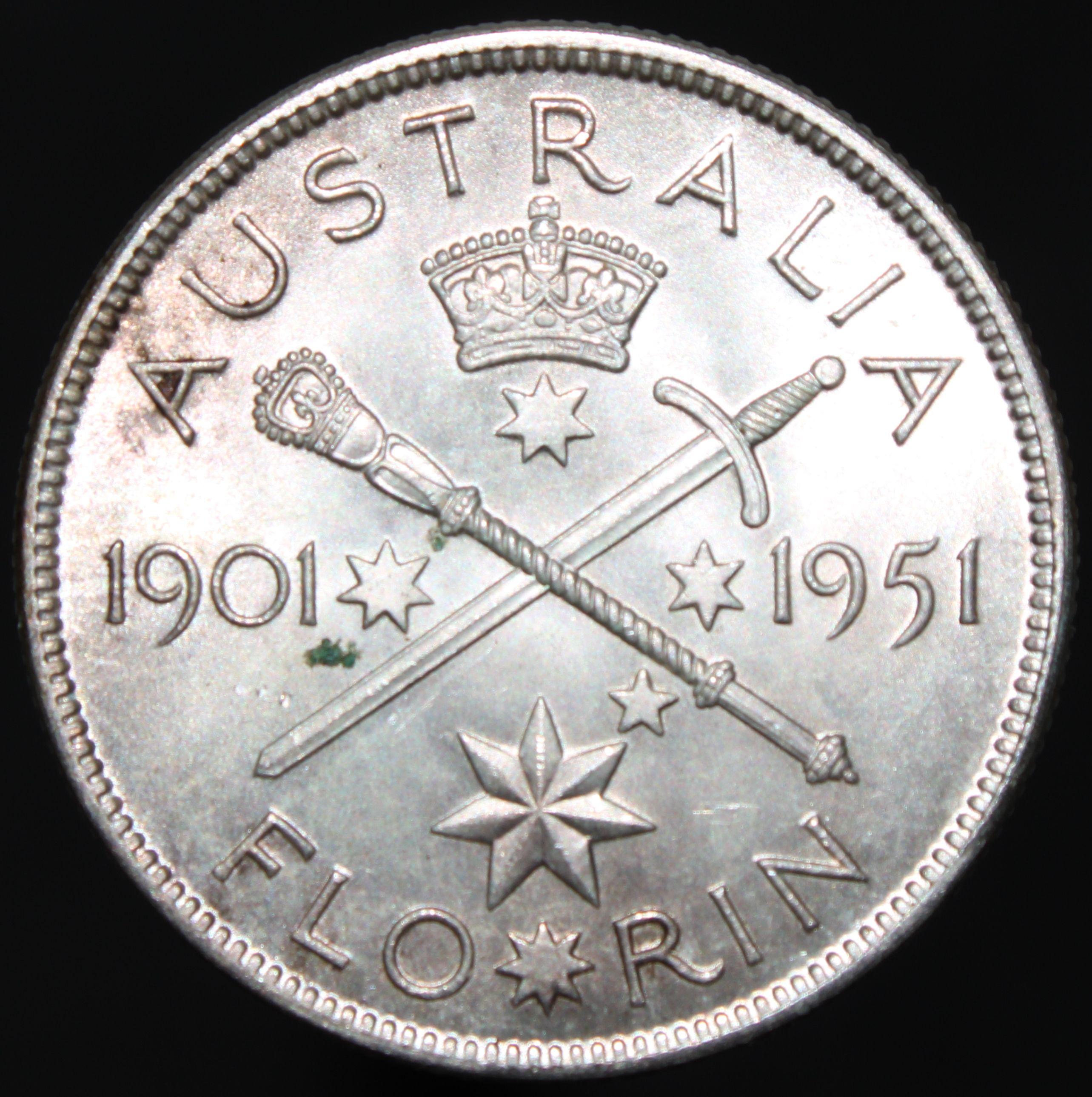 1951 Australia Florin Silver Coins KM Coins