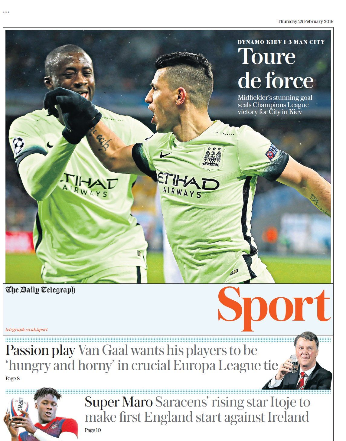 Thursday's Telegraph Sport: Toure de force #tomorrowspaperstoday #bbcpapers https://t.co/6jVq4ZqtsF