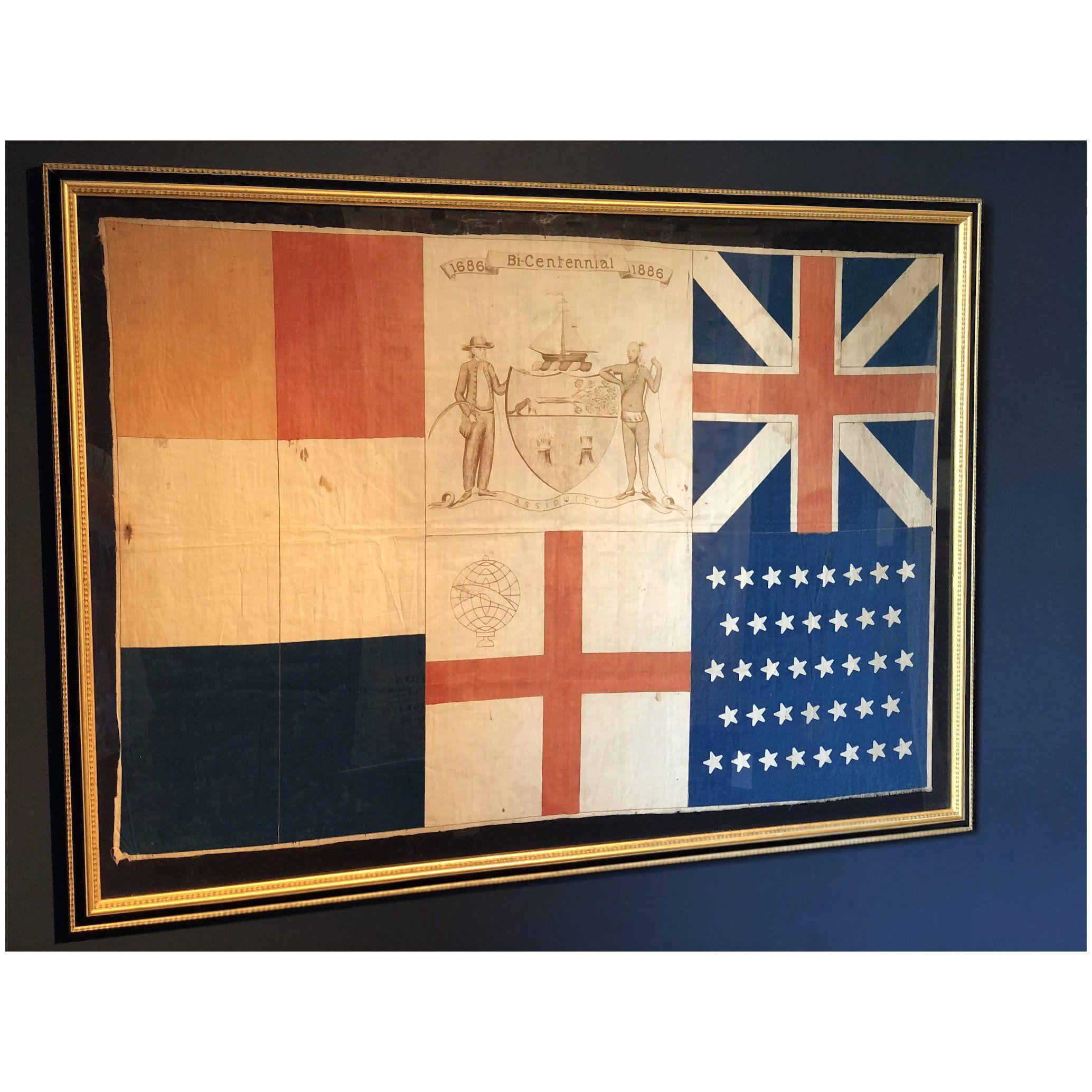U S Albany Ny New York Bicentennial Flag 1686 1886 Cotton Muslin Historic Antique Flag Professionally Framed Memorabi In 2020 Muslin Cotton Antiques England Flag