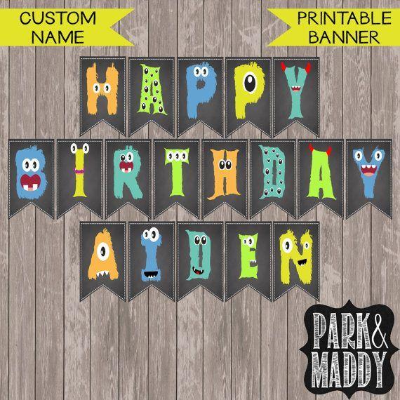 Personalisierte kleine Banner Geburtstag Monster mit Namen   Monster Party   Monster Dekorationen   druckbare Happy Birthday Banner  Monster birthday parties