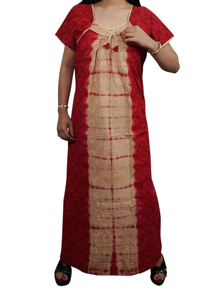 4d58a710aac1 Indiatrendzs Womens Cotton Nighty Red Brown Sleepwear Maxi Night Gown  Chest- 44