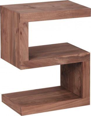 Wohnling WOHNLING Beistelltisch Massivholz Akazie ´´S´´ Cube 60 cm - wohnzimmer design landhaus