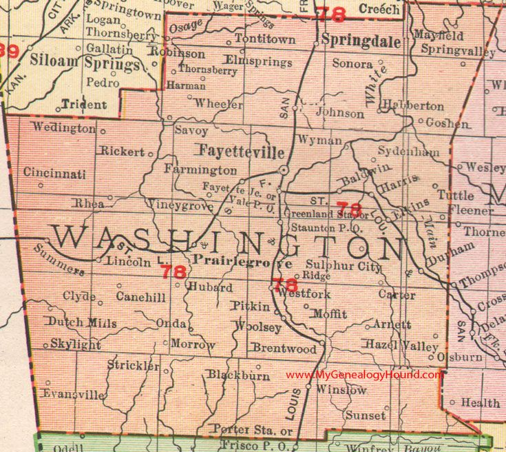 where is springdale arkansas on a map Washington County Arkansas 1909 Map Washington County Arkansas where is springdale arkansas on a map