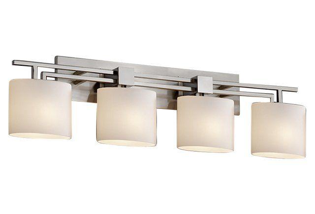 Aero 4-Light Bath Bar, Nickel & Opal