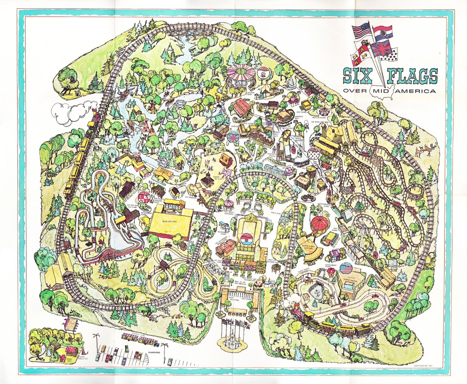 I Found This Inaugural Year Map From Six Flags Over Mid America At An Estate Sale About A Month Ago From 1971 It Bar Six Flags Theme Park Map Amusement Park