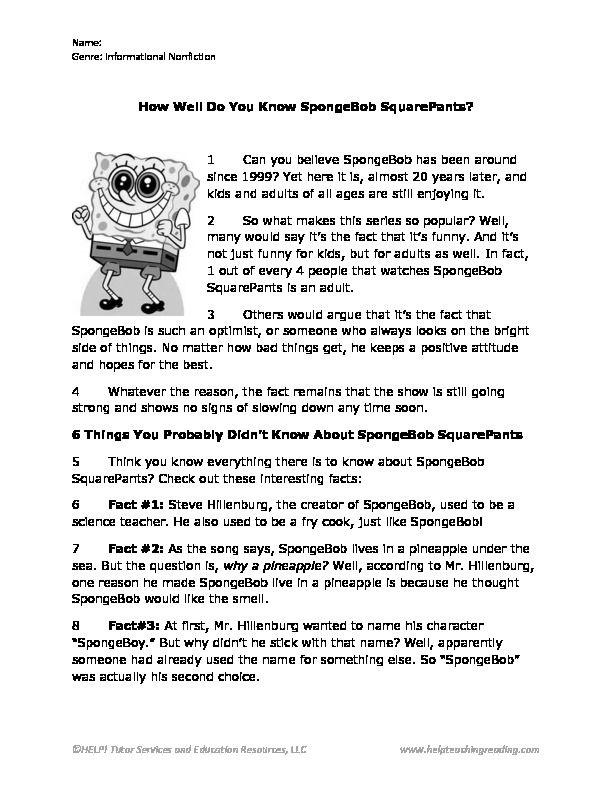 SpongeBob Reading Passage | Inference activities | Making inferences