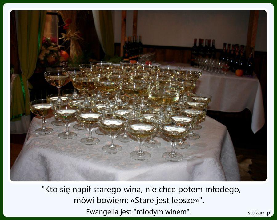 """""""Kto się napił starego wina, nie chce potem młodego, mówi bowiem: «Stare jest lepsze»"""". Ewangelia jest """"młodym winem""""."""