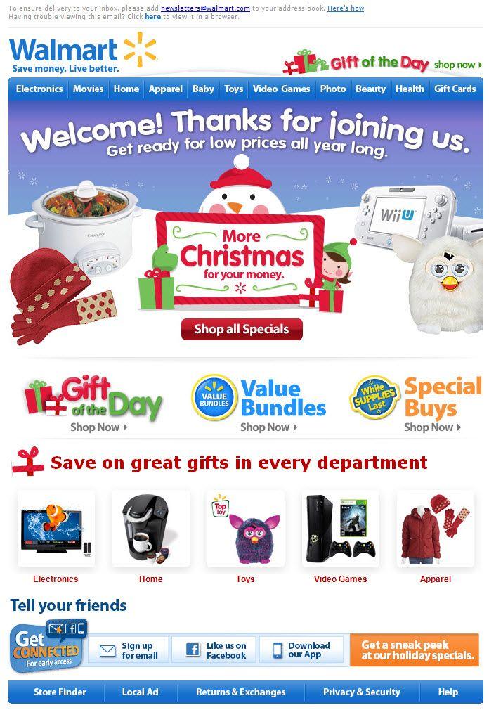 Walmart >> sent 11/2012 >> Welcome to Walmart! Tis' the season for ...
