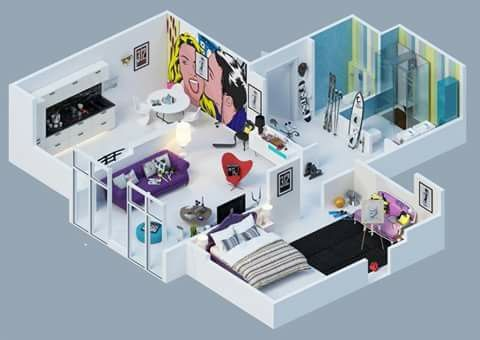 3D modern apartment Wonderful Houses Pinterest Flats, Modern