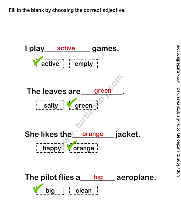 Describing Words Worksheet26 - esl-efl Worksheets - grade-1 ...