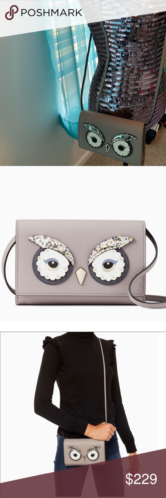 faf10b89fbbea 🆕Authentic Kate Spade  star bright owl summer Bundle and Save  MATERIAL  crosshatched leather capital kate jacquard lining FEATURES crossbody bag  with ...