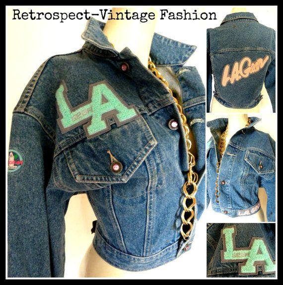 90's Vintage @LAGEAR @rihanna signature logo varsity denim cropped jacket $42.00