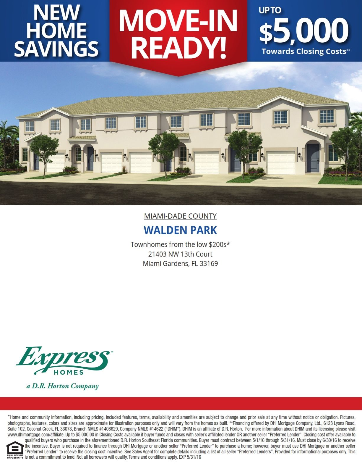 Walden Park in Miami Gardens now offering $5,000 towards closing on brand new townhomes! http://bit.ly/waldenpk