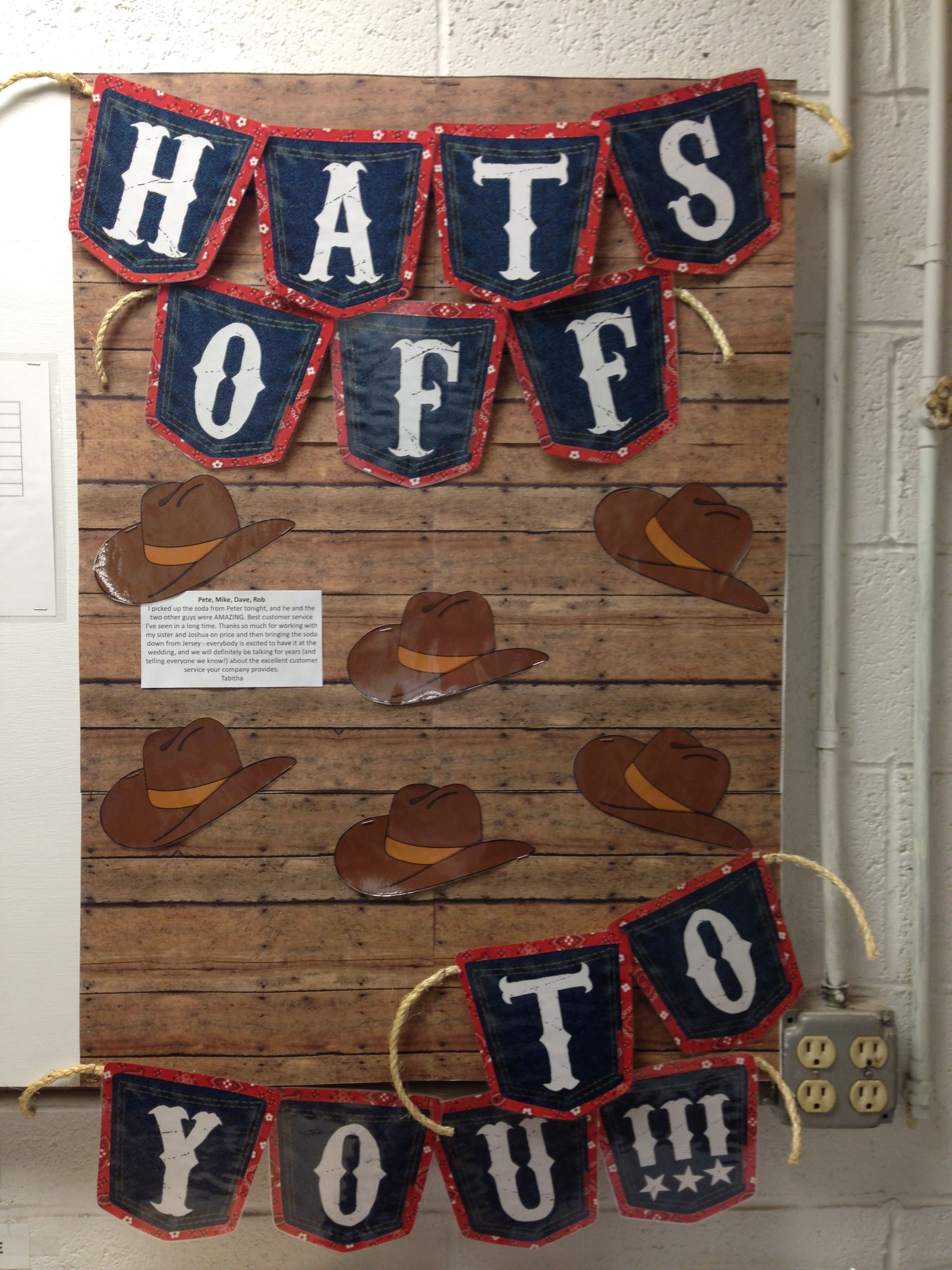 Western Cowboy Themed Recognition Board Hats Off To You