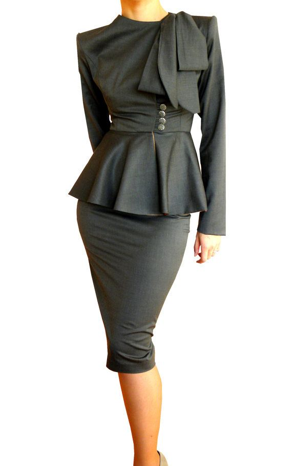 Suit With Straight Skirt Bow Scarf Blazer Wrap Jacket Office Wear