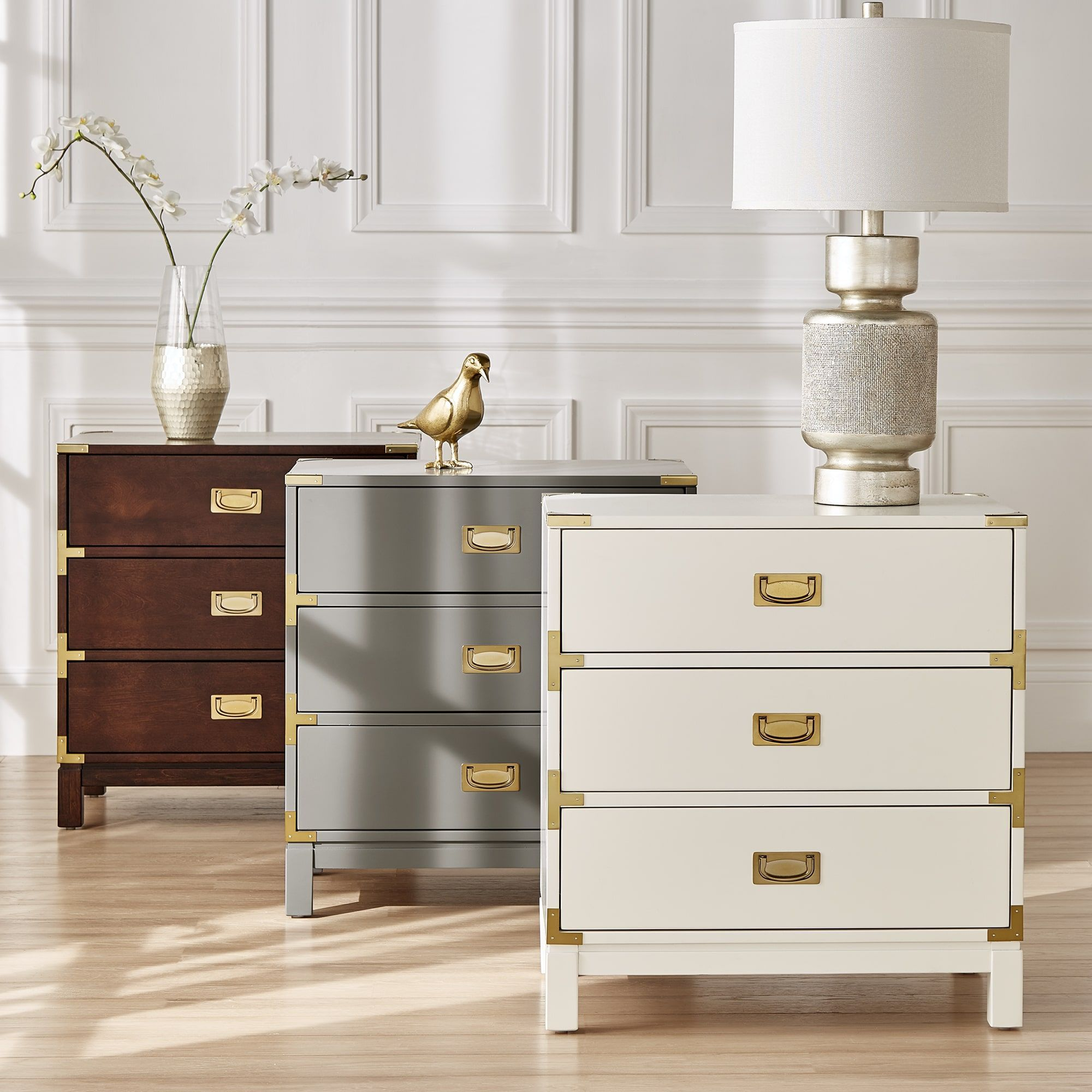 Kedric 3-Drawer Gold Accent End Table Nightstand by iNSPIRE Q Bold by  iNSPIRE Q