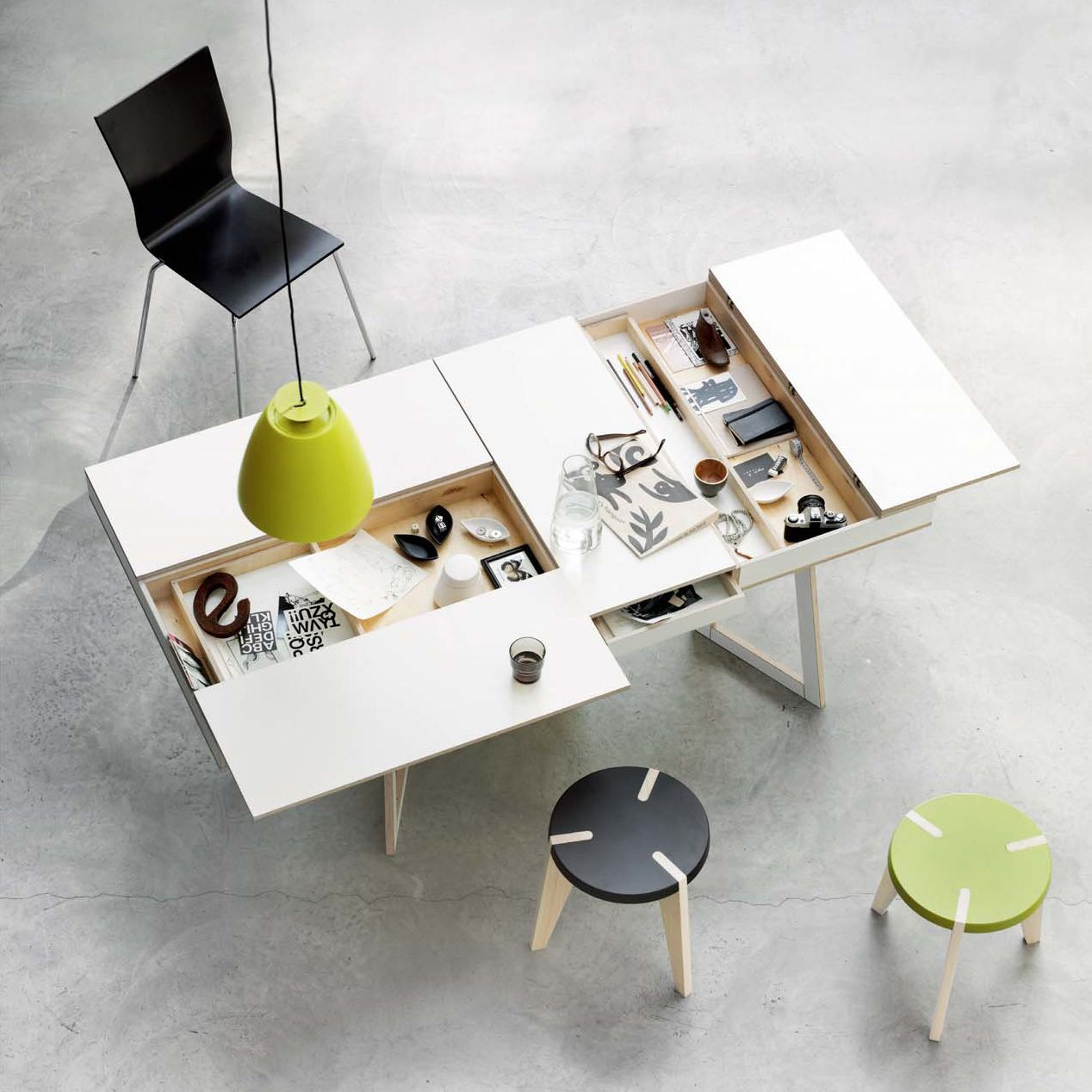 Wonderful Furniture, Modern Furniture Design Ideas With Hidden Compartments Desk  Design Ideas With Black Office Chair Design And Green Pendant Lamp Ideas  For Home ... Images