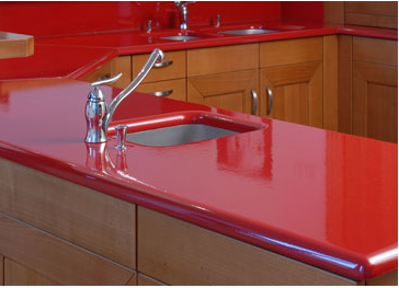 Glazed Volcanic Lava Stone Kitchen Countertop In Red From Pyrolave