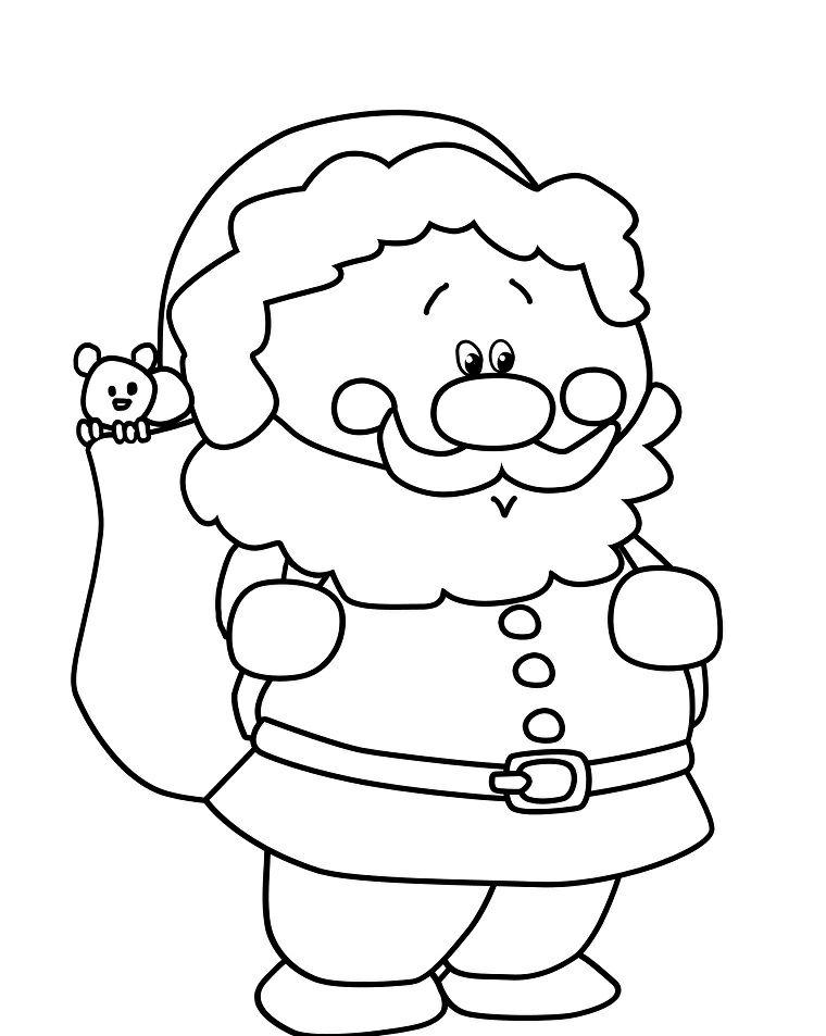 Disegni Di Natale Da Colorare 2019.Sacco Con Orsetto Disegni Di Babbo Natale Da Colorare Sacco Regali