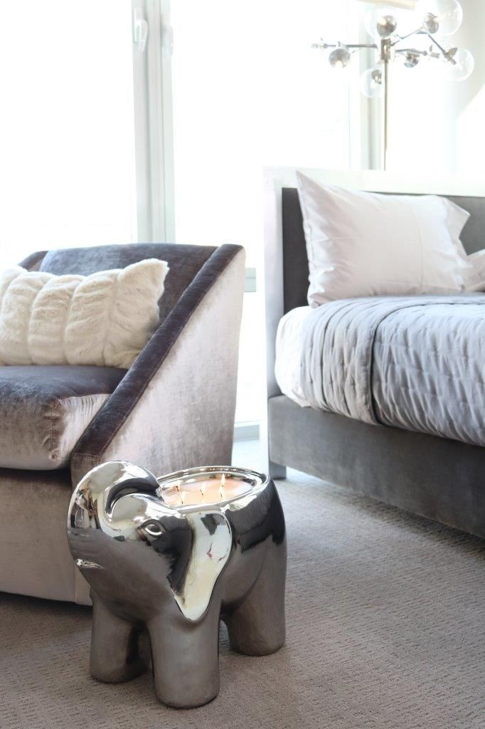 Silver Grey Tone Bedroom Set. Plush White Faux Fur Pillow On Chair. Washed  Out