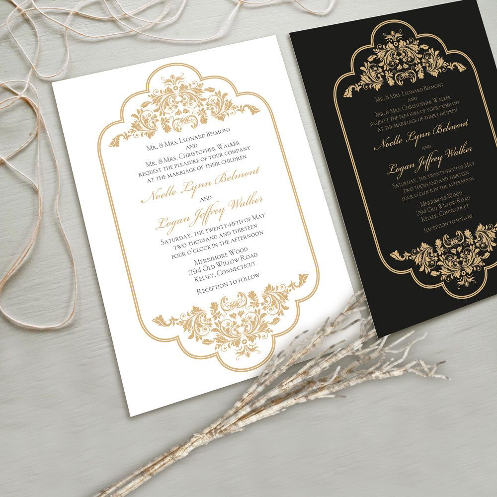 Timeless and Elegant Wedding Invitation Suite  White and Gold  Black and  Gold  other color combinations possible  NEW Spring 2013 Collection Timeless and Elegant Wedding Invitation Suite  White and Gold  . New Colors For 2013. Home Design Ideas