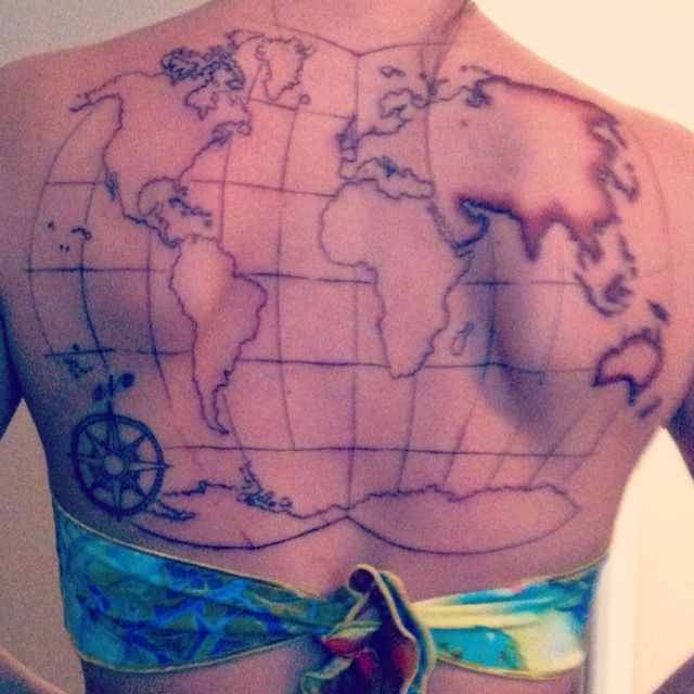 World Map Tattoo. Session 1 Of 2 DONE! It Will Get Finished In A
