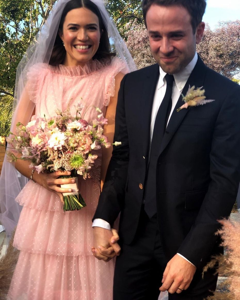 52da6af00c0b Mandy Moore and Taylor Goldsmith After Saying I Do #mandymoore #married  #bride #celebrity #pinkwedding #pinkbride #tulle #rodarte