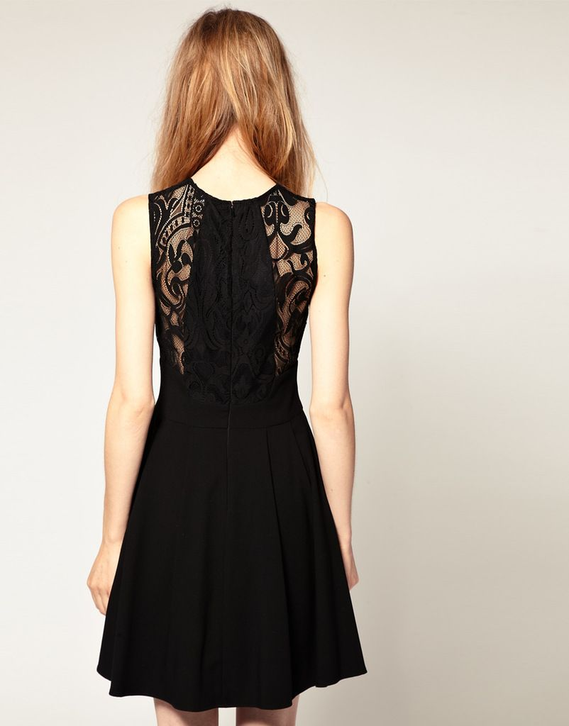Lace back chiffon dress