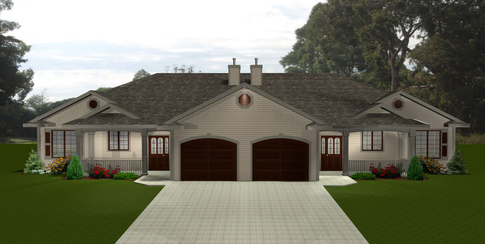 Ranch Style Duplex Home Plans Styles Of Homes With: ranch style duplex plans