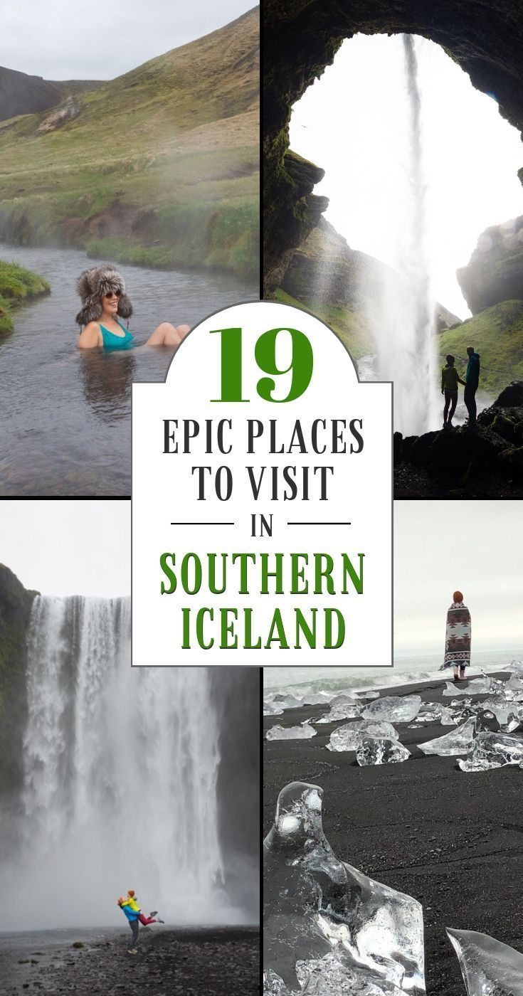 19 Epic Places To Do in Iceland. Planning a trip to Iceland and wondering what to see in the land of fire and ice? Read this article to discover the absolute best sites in southern Iceland: Reykjavik, the Blue Lagoon, Gullfoss Waterfall, Seljalandsfoss, Skogafoss, the DC Plane Wreck, Vatnajokull National Park, Jokulsarlon Glacier Lagoon, Diamond Beach, and more! - By Wandering Wheatleys (@wanderingwheatleys) #Iceland #Reykjavik #BlueLagoon #Skogafoss #Seljalandsfoss