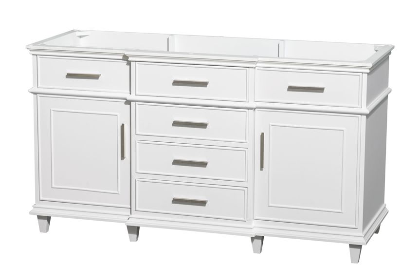 Double Bathroom Vanity Cabinet With Cupboard Berkeley 59 Inch White Finish Sink Only